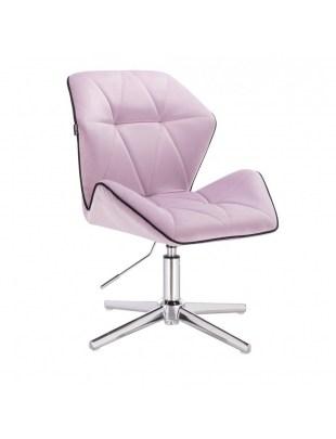 CRONO - Krzesło kosmetyczne wrzos welur podstawa cross chrom