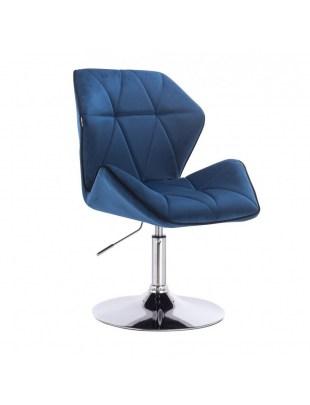 CRONO - Krzesło kosmetyczne ciemne morze welur podstawa okrąg chrom