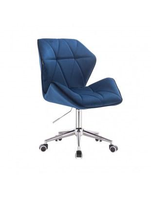 CRONO - Krzesło kosmetyczne ciemne morze welur podstawa na kółkach chrom