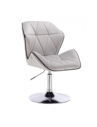 CRONO - Krzesło kosmetyczne stal welur podstawa okrąg chrom