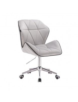 CRONO - Krzesło kosmetyczne stal welur podstawa na kółkach chrom