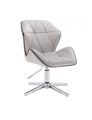 CRONO - Krzesło kosmetyczne stal welur podstawa cross chrom