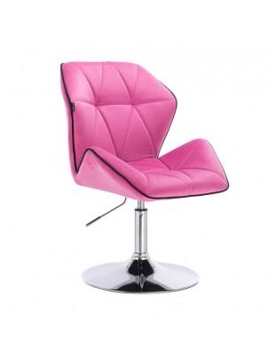 CRONO - Krzesło kosmetyczne malinowy welur podstawa okrąg chrom