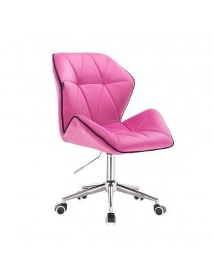 CRONO - Krzesło kosmetyczne malinowy welur podstawa na kółkach chrom