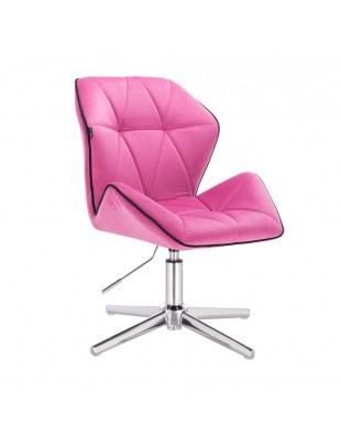 CRONO - Krzesło kosmetyczne malinowy welur podstawa cross chrom
