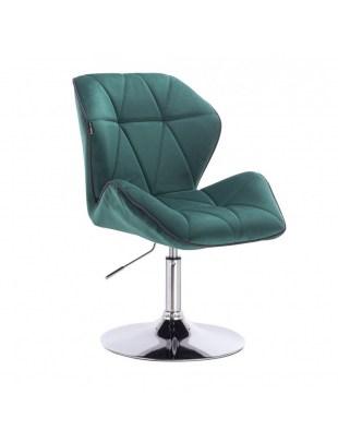 CRONO - Krzesło kosmetyczne butelkowa zieleń welur podstawa okrąg chrom