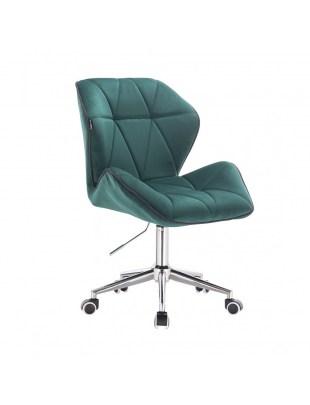CRONO - Krzesło kosmetyczne butelkowa zieleń welur podstawa na kółkach chrom