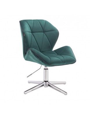 CRONO - Krzesło kosmetyczne butelkowa zieleń welur podstawa cross chrom