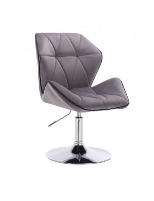 CRONO - Krzesło kosmetyczne grafit welur podstawa okrąg chrom