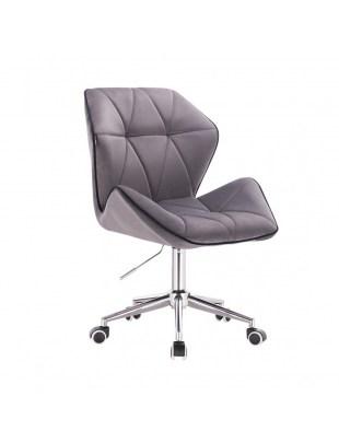 CRONO - Krzesło kosmetyczne grafit welur podstawa na kółkach chrom