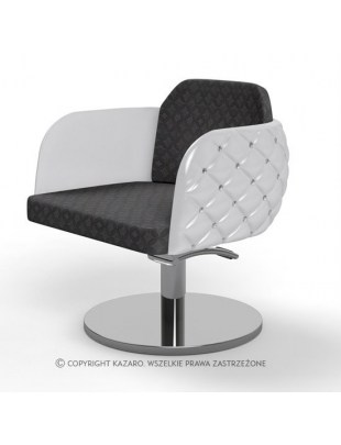 Biało-czarny pikowany fotel fryzjerski - DIAMANTE