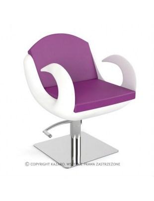 Fotel fryzjerski FIORE fioletowo-biały