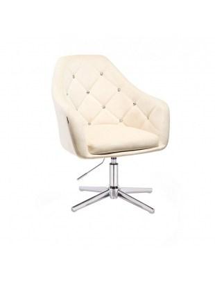 BLERM CRISTAL - Krzesło kosmetyczne kremowe z kryształkami WYBÓR PODSTAW