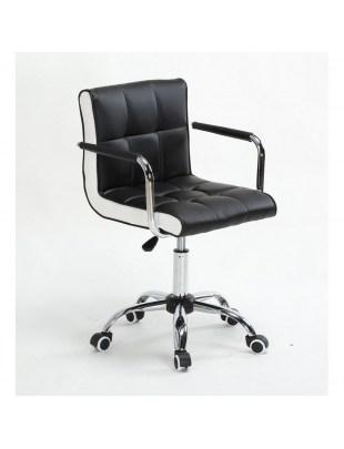 LAO - Krzesło kosmetyczne czarny - kółka