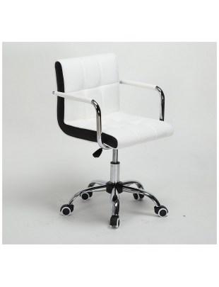 LAO - Krzesło kosmetyczne białe - kółka