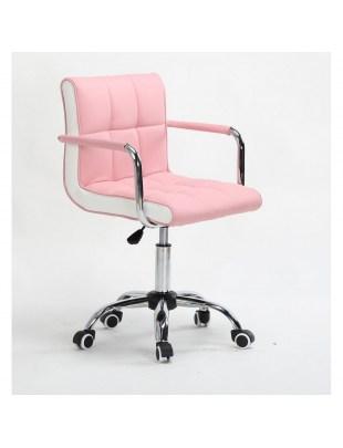 LAO - Krzesło kosmetyczne różowe - kółka