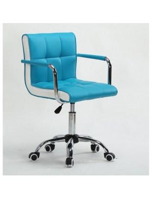 LAO - Krzesło kosmetyczne turkusowe - kólka