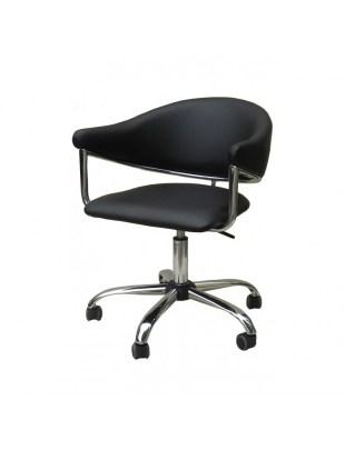 Carole - Krzesło kosmetyczne czarne na kółkach eko skóra