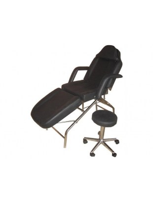 1057 - Fotel kosmetyczny z hokerem czarny