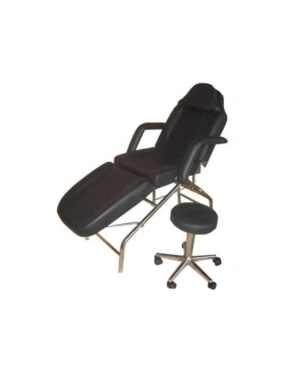 Fotel kosmetyczny z hokerem czarny 1057