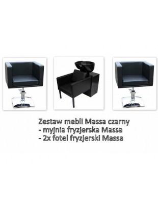 Myjnia Massa + 2 Fotele fryzjerskie Massa czarny