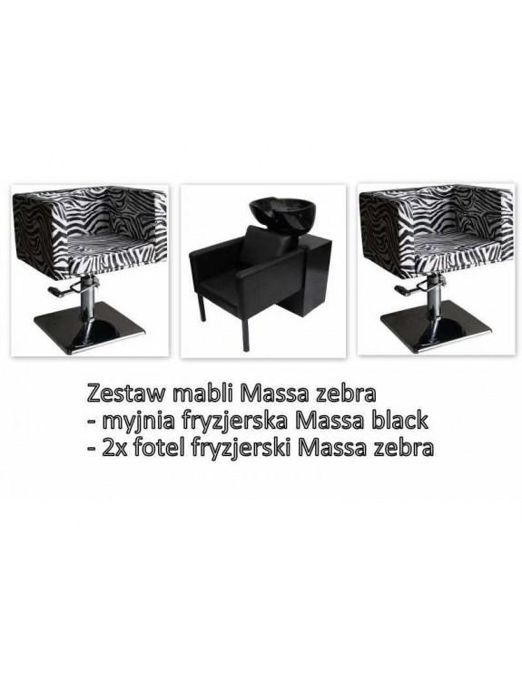Myjnia Massa + 2 Fotele fryzjerskie Massa zebra