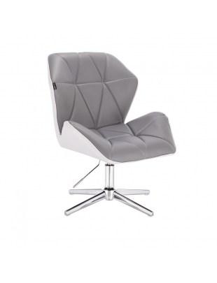 CRONO - Krzesło kosmetyczne szaro -białe cross