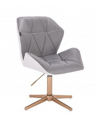 CRONO - Krzesło kosmetyczne szaro -białe złote