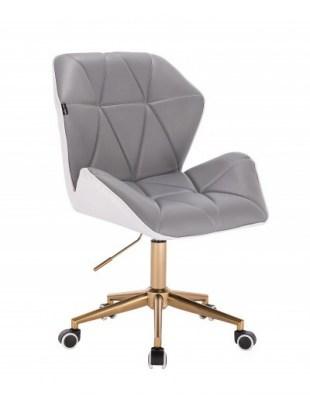 CRONO - Krzesło kosmetyczne szaro-białe złota podstawa