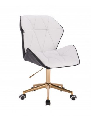 CRONO - Krzesło kosmetyczne czarno-białe złota podstawa