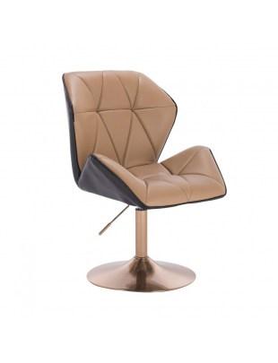 CRONO - Krzesło kosmetyczne karmelowo- czarne złota podstawa dysk