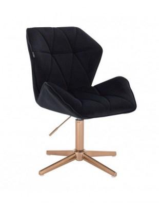 CRONO - Krzesło kosmetyczne karmelowe złota podstawa krzyżak