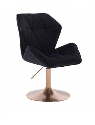 CRONO - Krzesło kosmetyczne czarny welur złota podstawa dysk
