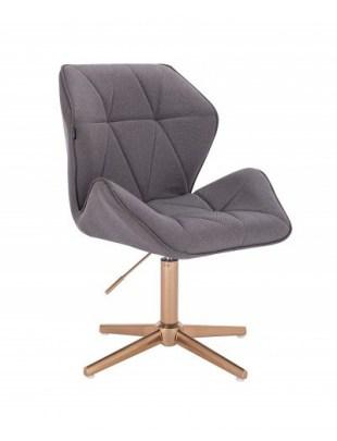 CRONO - Krzesło kosmetyczne czarny welur złota podstawa krzyżak