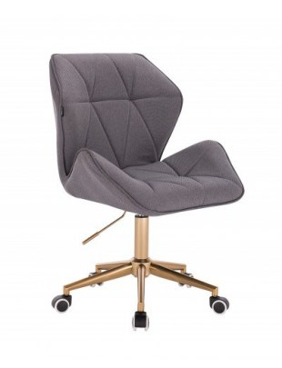 CRONO - Krzesło kosmetyczne tweedowy popiel złota podstawa