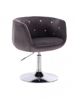 BARDO CRISTAL - Krzesło kosmetyczne grafitowy welur podstawa dysk