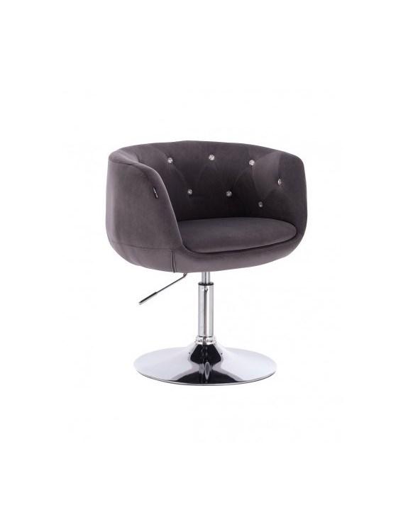 BARDO CRISTAL - Fotel kosmetyczny czarno-biały welur