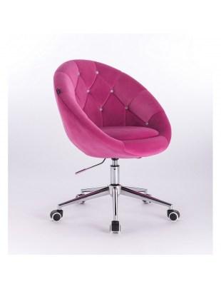 Blom Cristal - krzesło kosmetyczne tapicerowane malinowym welurem z kryształkami na kółkach