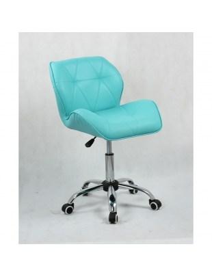 PETYR ECO - Krzesło kosmetyczne turkusowe na kółkach