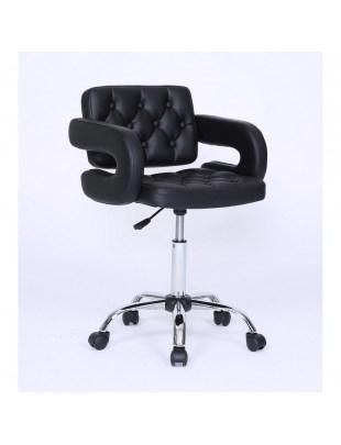 Surf - Fotel fryzjerski czarny kółka