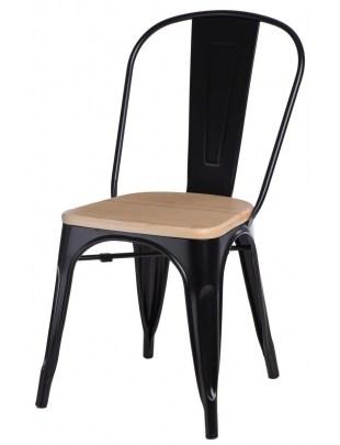 Krzesło Paris Wood czarne sosna naturaln