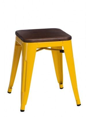 Stołek Paris Wood żółty sosna orzech