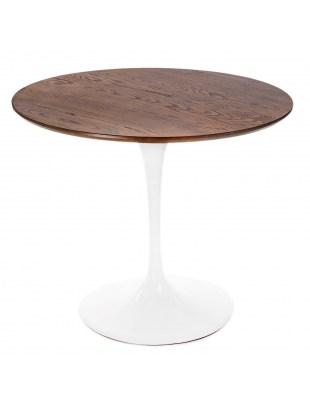 Stół Fiber biały o90cm z blatem jesionow wybarwiony dębem