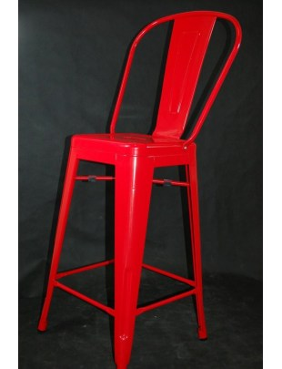 Stołek barowy Paris Back czerwony inspirowany Tolix Outlet