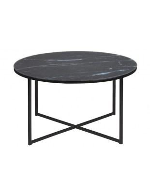 Okrągły stolik kawowy szklany (czarny marmur) - Alisma