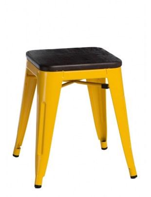 Stołek Paris Wood żółty sosna szczotkowa