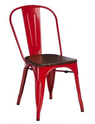 Krzesło Paris Wood czerwone sosna orzech