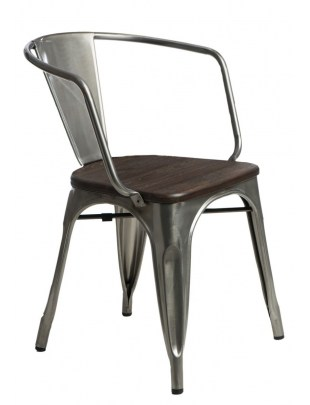 Krzesło Paris Arms Wood metal sosna szcz otkowana