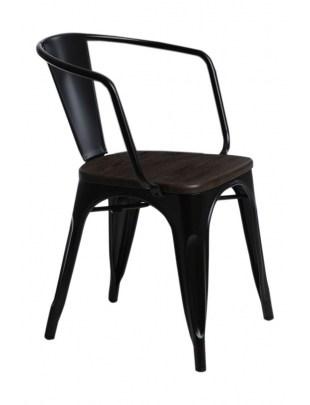 Krzesło Paris Arms Wood czarne sosna szc zotkowana