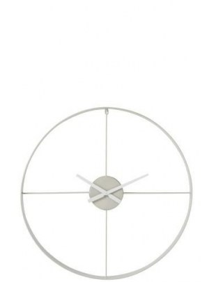 Zegar Round metalowy biały XL